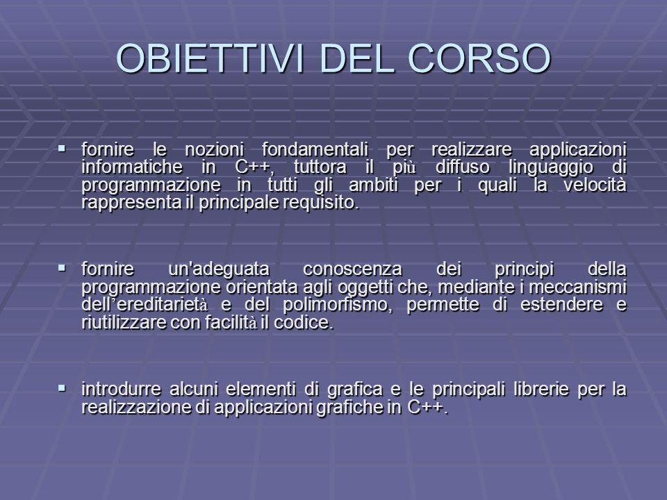 OBIETTIVI DEL CORSO fornire le nozioni fondamentali per realizzare applicazioni informatiche in C++, tuttora il pi ù diffuso linguaggio di programmazi