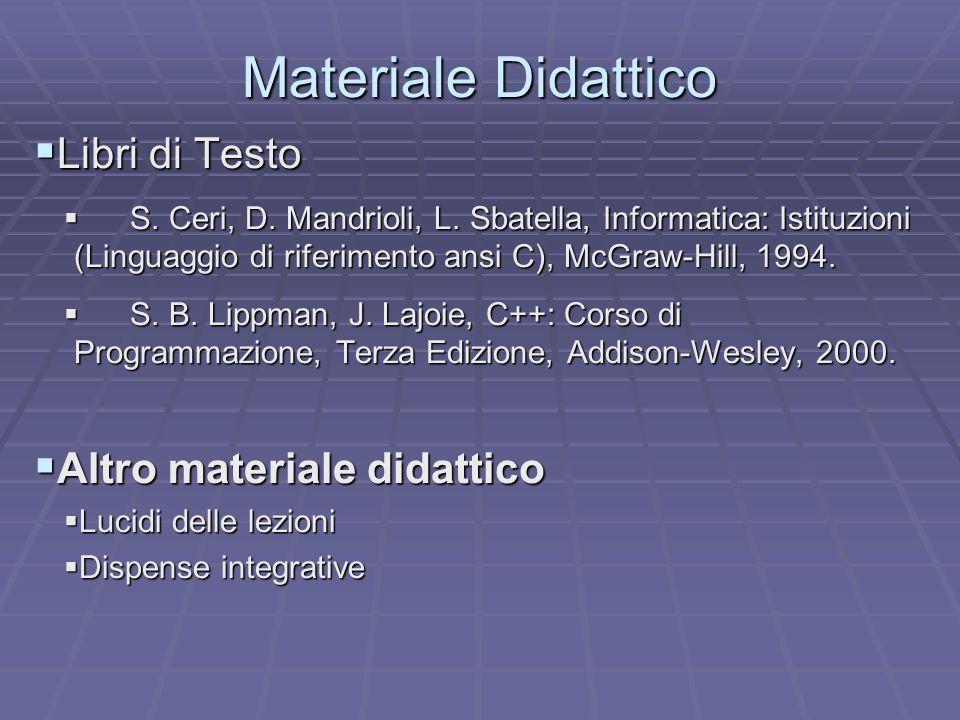 Materiale Didattico Libri di Testo Libri di Testo S. Ceri, D. Mandrioli, L. Sbatella, Informatica: Istituzioni (Linguaggio di riferimento ansi C), McG