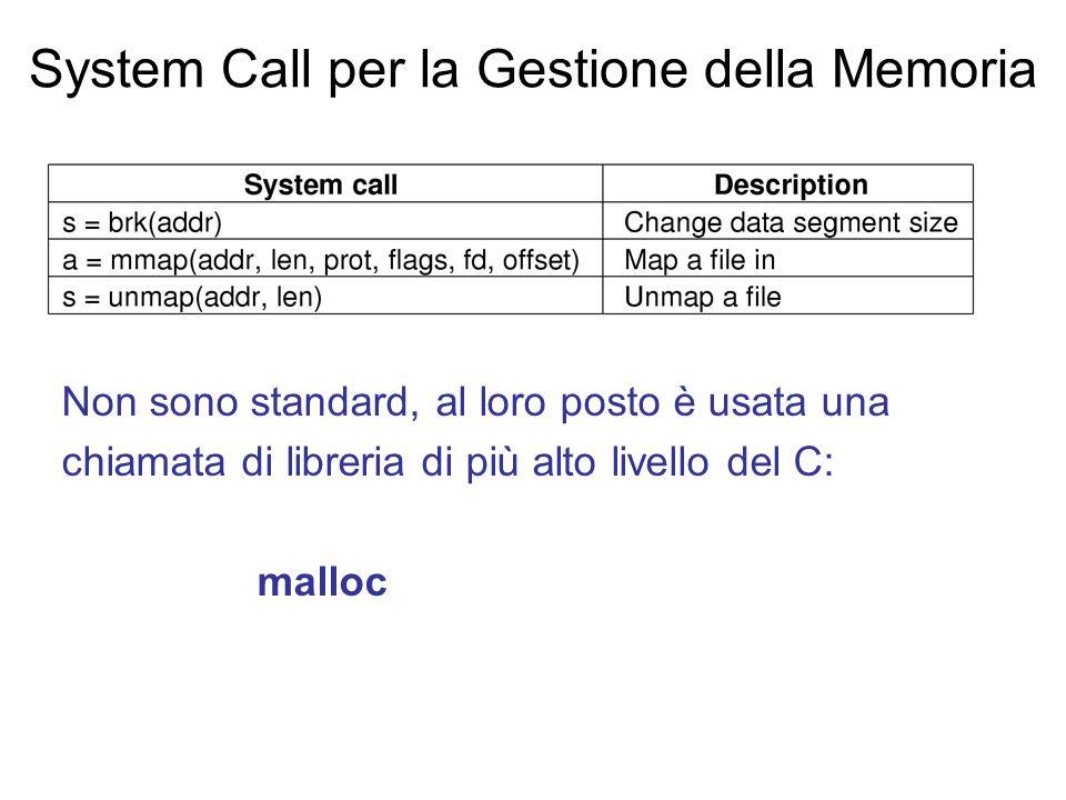System Call per la Gestione della Memoria Non sono standard, al loro posto è usata una chiamata di libreria di più alto livello del C: malloc