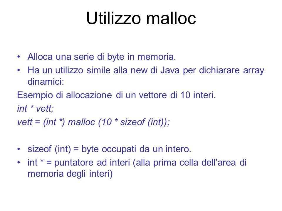 Utilizzo malloc Alloca una serie di byte in memoria.