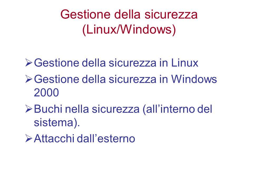 Gestione della sicurezza (Linux/Windows) Gestione della sicurezza in Linux Gestione della sicurezza in Windows 2000 Buchi nella sicurezza (allinterno del sistema).