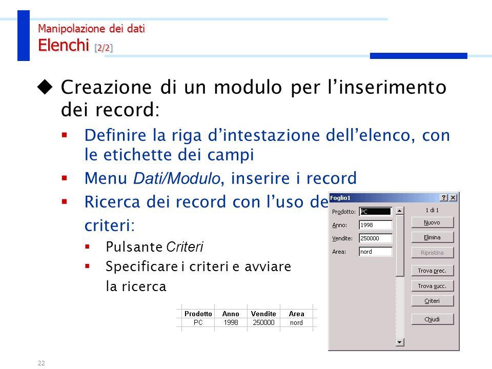 21 Raccolte di informazioni organizzate per righe (Record) e colonne (Campi). Per creare un elenco trattabile con Excel occorre rispettare alcune semp