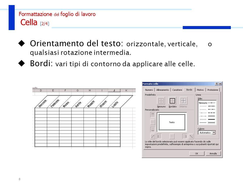 7 Formati numerici: menu Formato/Celle, scheda Numero Formattazione del foglio di lavoro Cella [1/4] PulsanteEffetto Valuta Aggiunge al numero il simb