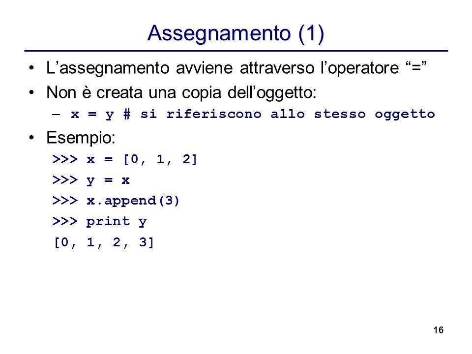 16 Assegnamento (1) Lassegnamento avviene attraverso loperatore = Non è creata una copia delloggetto: – x = y# si riferiscono allo stesso oggetto Esem