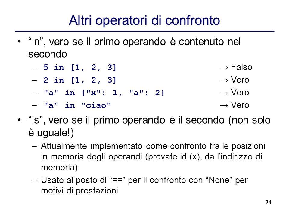 24 Altri operatori di confronto in, vero se il primo operando è contenuto nel secondo – 5 in [1, 2, 3] Falso – 2 in [1, 2, 3] Vero –