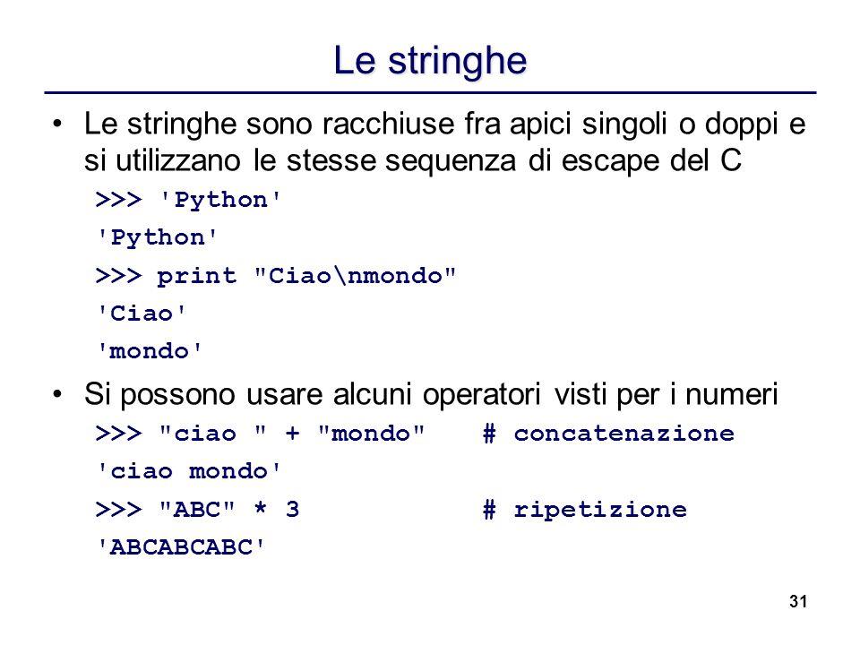 31 Le stringhe Le stringhe sono racchiuse fra apici singoli o doppi e si utilizzano le stesse sequenza di escape del C >>> 'Python' 'Python' >>> print