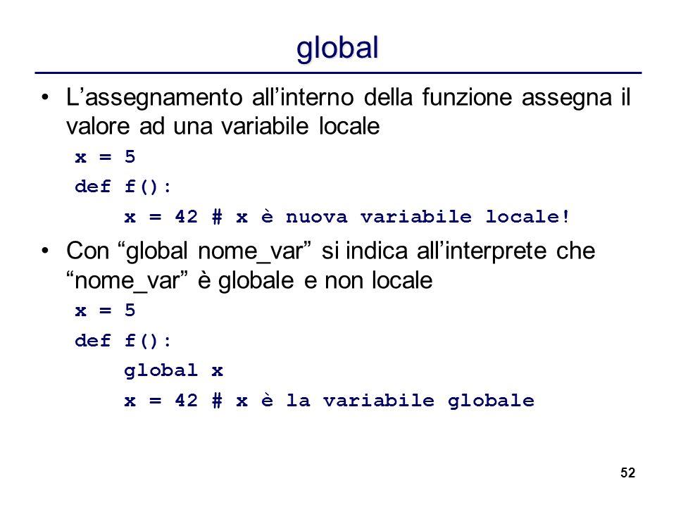 52 global Lassegnamento allinterno della funzione assegna il valore ad una variabile locale x = 5 def f(): x = 42 # x è nuova variabile locale! Con gl