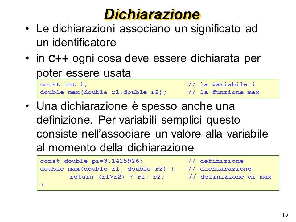 10 Dichiarazione Le dichiarazioni associano un significato ad un identificatore in C++ ogni cosa deve essere dichiarata per poter essere usata Una dic