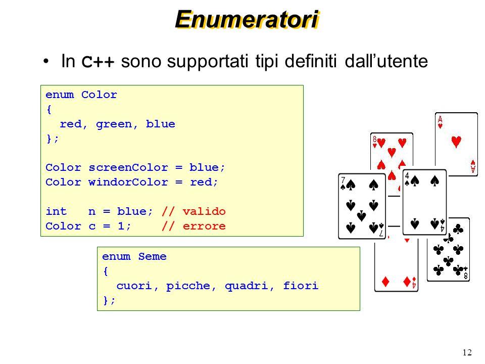 12 Enumeratori In C++ sono supportati tipi definiti dallutente enum Color { red, green, blue }; Color screenColor = blue; Color windorColor = red; int