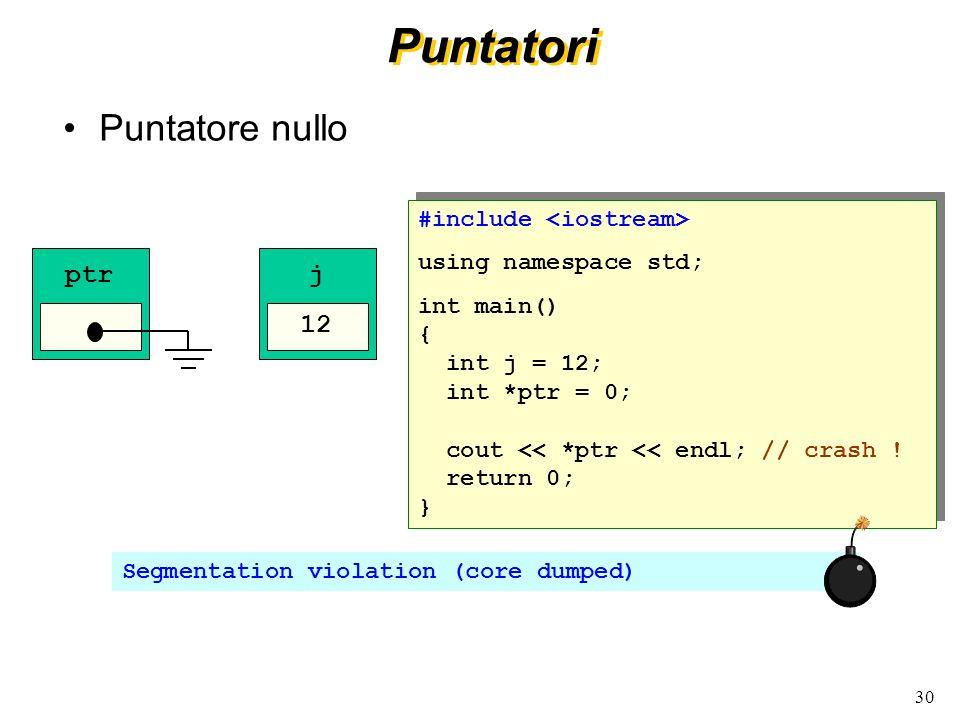 30 Puntatori Puntatore nullo #include using namespace std; int main() { int j = 12; int *ptr = 0; cout << *ptr << endl; // crash ! return 0; } #includ