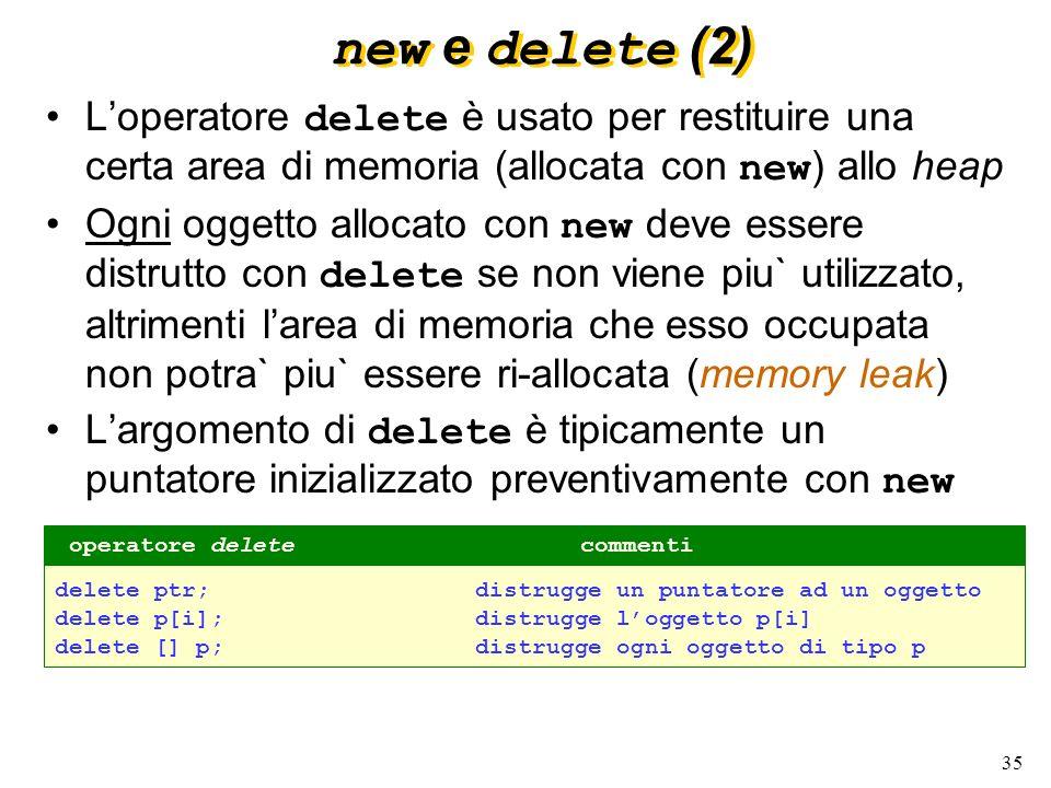 35 new e delete (2) Loperatore delete è usato per restituire una certa area di memoria (allocata con new ) allo heap Ogni oggetto allocato con new dev