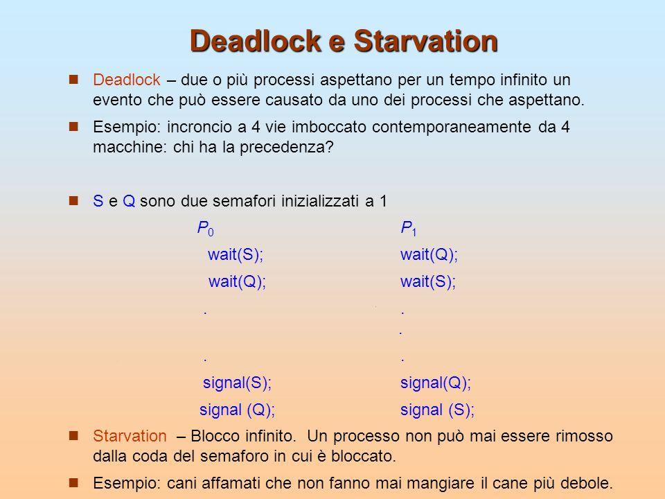 Deadlock e Starvation Deadlock – due o più processi aspettano per un tempo infinito un evento che può essere causato da uno dei processi che aspettano