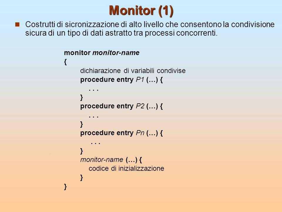 Monitor (1) Costrutti di sicronizzazione di alto livello che consentono la condivisione sicura di un tipo di dati astratto tra processi concorrenti. m