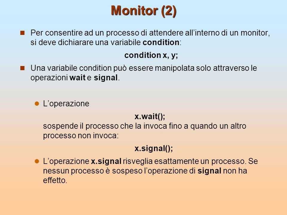 Monitor (2) Per consentire ad un processo di attendere allinterno di un monitor, si deve dichiarare una variabile condition: condition x, y; Una varia