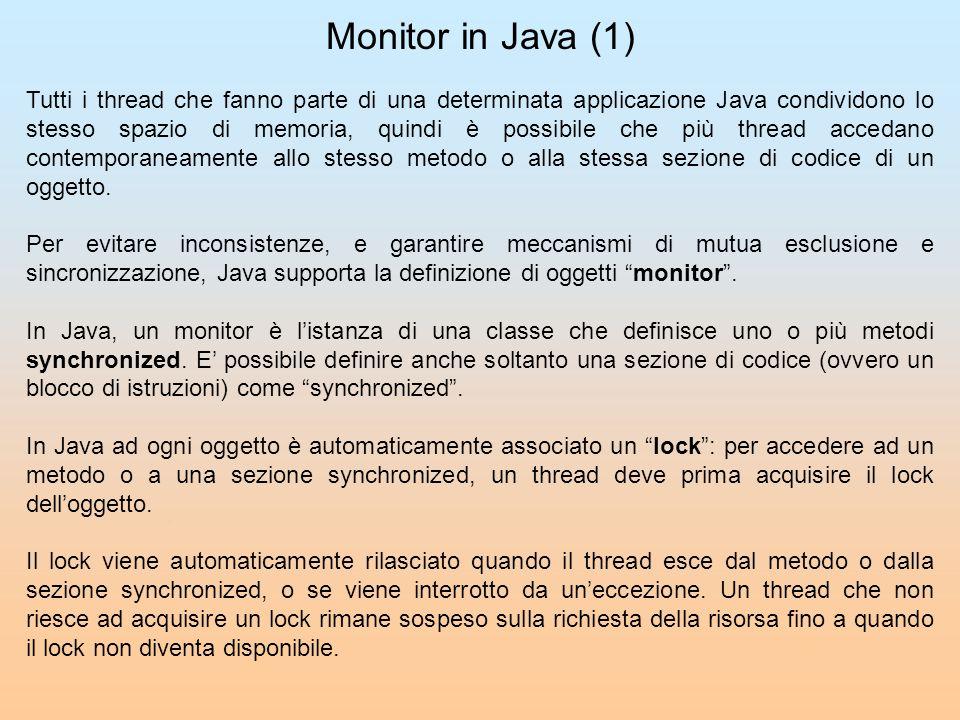 Monitor in Java (1) Tutti i thread che fanno parte di una determinata applicazione Java condividono lo stesso spazio di memoria, quindi è possibile ch