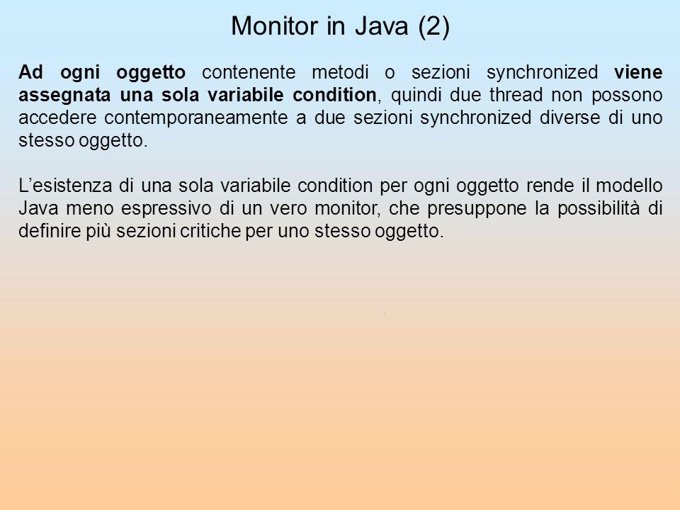 Monitor in Java (2) Ad ogni oggetto contenente metodi o sezioni synchronized viene assegnata una sola variabile condition, quindi due thread non posso