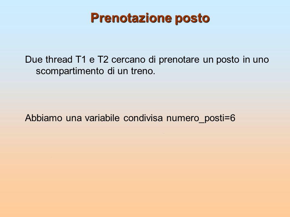 Cosa può succedere Il primo thread prenota un posto: numero_posti=numero_posti-1 può essere implementato come register1 = numero_posti register1 = register1 -1 numero_posti = register1 Il secondo thread cerca anche lui di prenotare un posto: numero_posti=numero_posti-1 può essere implementato come register2 = numero_posti register2 = register2 - 1 numero_posti = register2 Considera questa esecuzione: Passo 1: T1 esegue register1 = numero_posti {register1 = 6} Passo 2: T2 esegue register2 = numero_posti {register2 = 6} Passo 3: T1 esegue register1 = register1-1 {register1 = 5} Passo 4: T2 esegue register2 = register2-1 {register2 = 5} Passo 5: T1 esegue numero_posti= register1 {numero_posti = 5} Passo 6: T2 esegue numero_posti= register2 {numero_posti = 5}