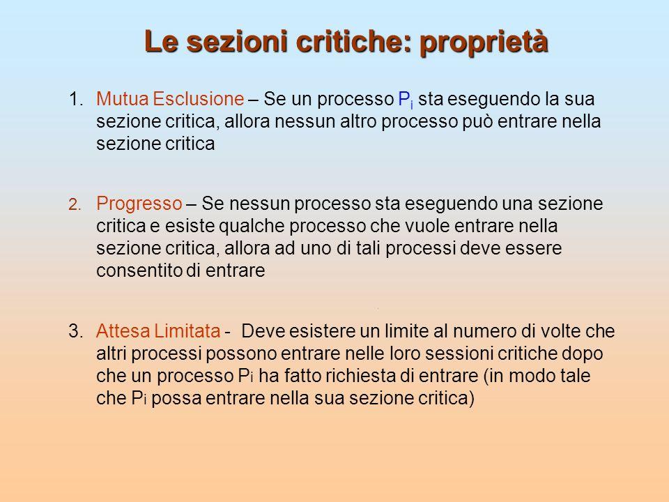 Le sezioni critiche: proprietà 1.Mutua Esclusione – Se un processo P i sta eseguendo la sua sezione critica, allora nessun altro processo può entrare