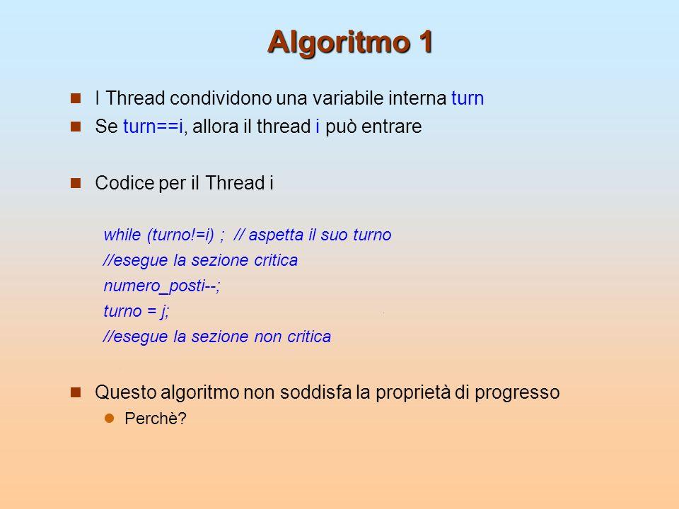 Algoritmo 2 Utilizziamo una variabile booleana per indicare che il prcesso vuole entrare nella sezione critica Codice per il Thread i pronto[i]=true; while (pronto[j]) ; // aspetta il suo turno //esegue la sezione critica numero_posti--; pronto[i]=false; //esegue la sezione non critica Questo algoritmo non soddisfa ancora la proprietà di progresso (si ha unattesa infinita se entrambi mettono la booleana a true)