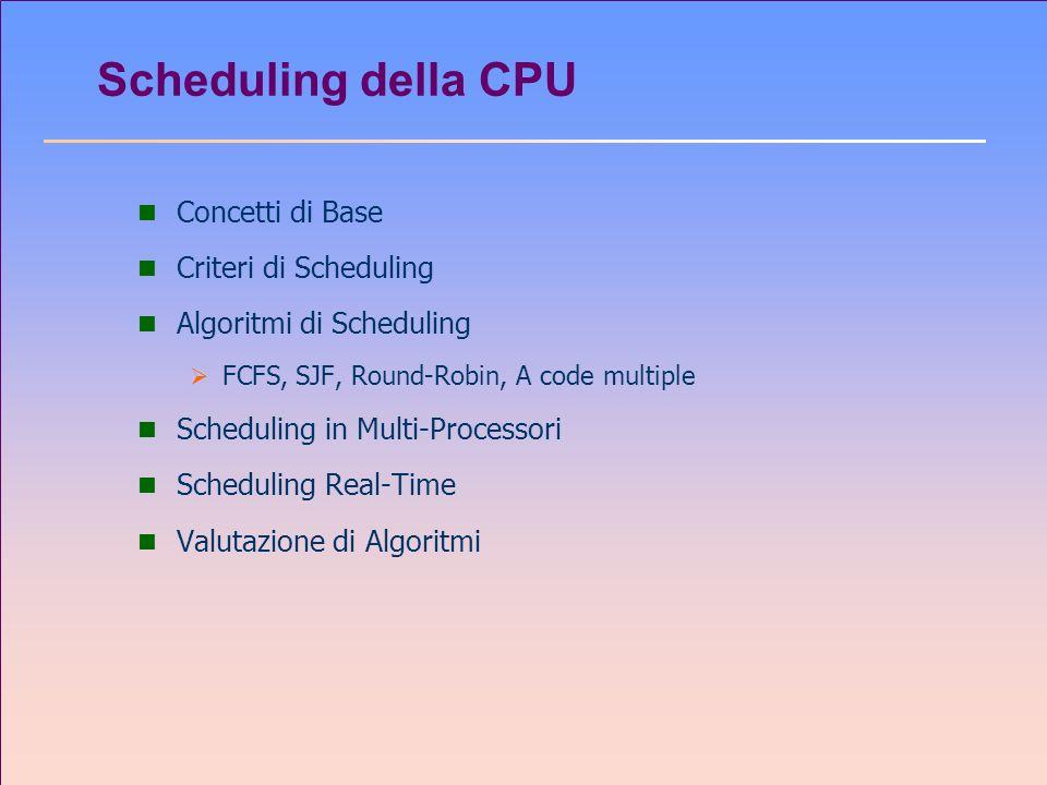 Scheduling della CPU n Concetti di Base n Criteri di Scheduling n Algoritmi di Scheduling FCFS, SJF, Round-Robin, A code multiple n Scheduling in Mult