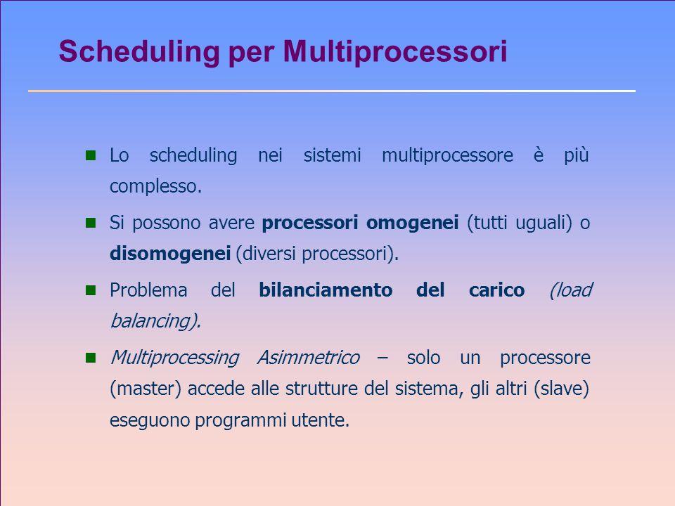 Scheduling per Multiprocessori n Lo scheduling nei sistemi multiprocessore è più complesso. n Si possono avere processori omogenei (tutti uguali) o di