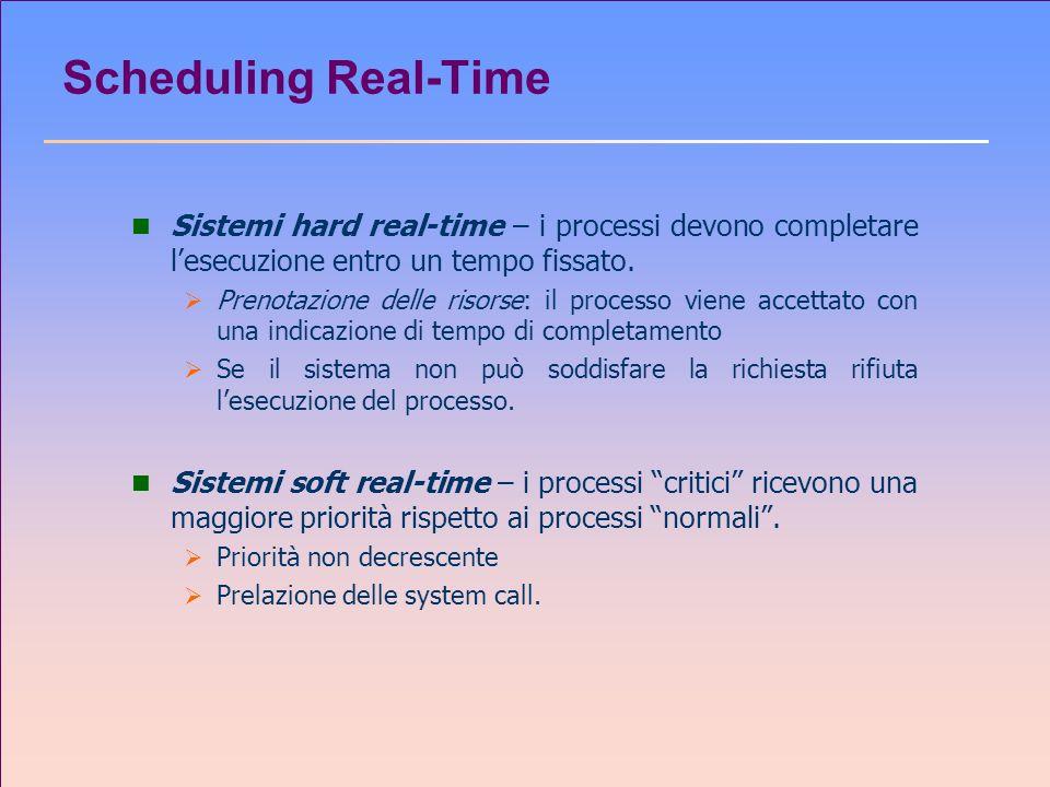 Scheduling Real-Time n Sistemi hard real-time – i processi devono completare lesecuzione entro un tempo fissato. Prenotazione delle risorse: il proces