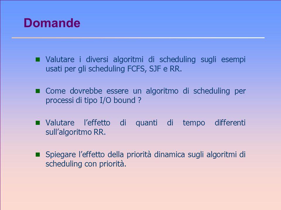 Domande n Valutare i diversi algoritmi di scheduling sugli esempi usati per gli scheduling FCFS, SJF e RR. n Come dovrebbe essere un algoritmo di sche