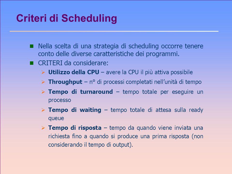 Criteri di Scheduling n Nella scelta di una strategia di scheduling occorre tenere conto delle diverse caratteristiche dei programmi. n CRITERI da con