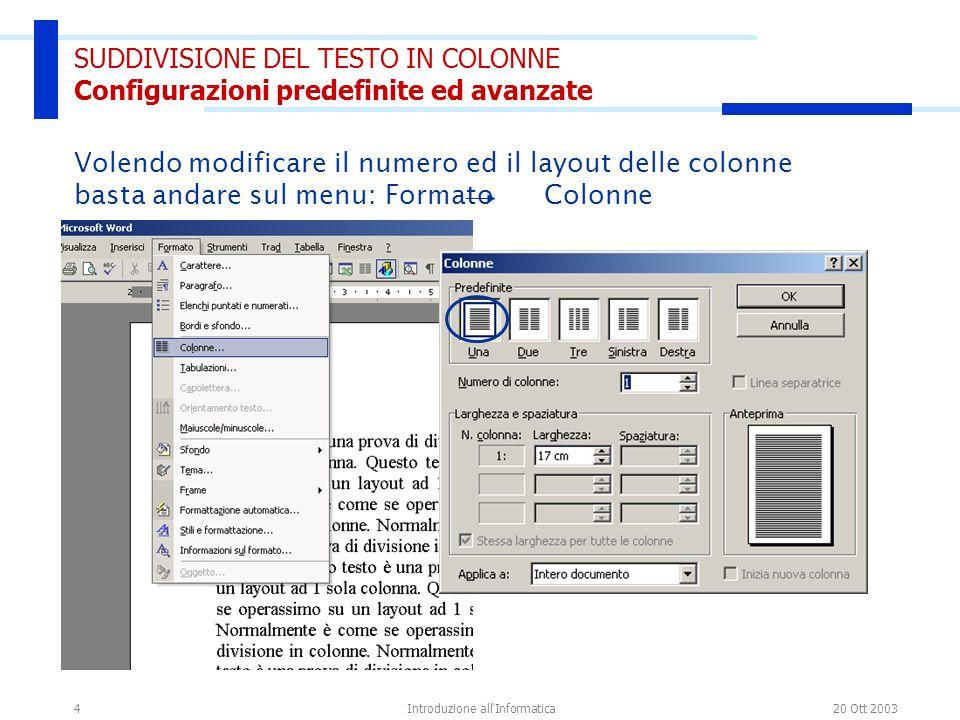 20 Ott 2003Introduzione all Informatica25 FINE