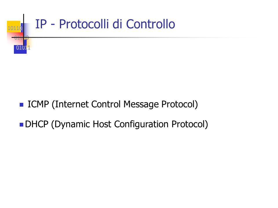 10110 01100 01100 01011 01011 IP - Protocolli di Controllo ICMP (Internet Control Message Protocol) DHCP (Dynamic Host Configuration Protocol)