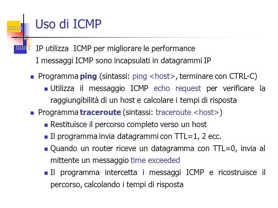 10110 01100 01100 01011 01011 Uso di ICMP IP utilizza ICMP per migliorare le performance I messaggi ICMP sono incapsulati in datagrammi IP Programma ping (sintassi: ping, terminare con CTRL-C) Utilizza il messaggio ICMP echo request per verificare la raggiungibilità di un host e calcolare i tempi di risposta Programma traceroute (sintassi: traceroute ) Restituisce il percorso completo verso un host Il programma invia datagrammi con TTL=1, 2 ecc.