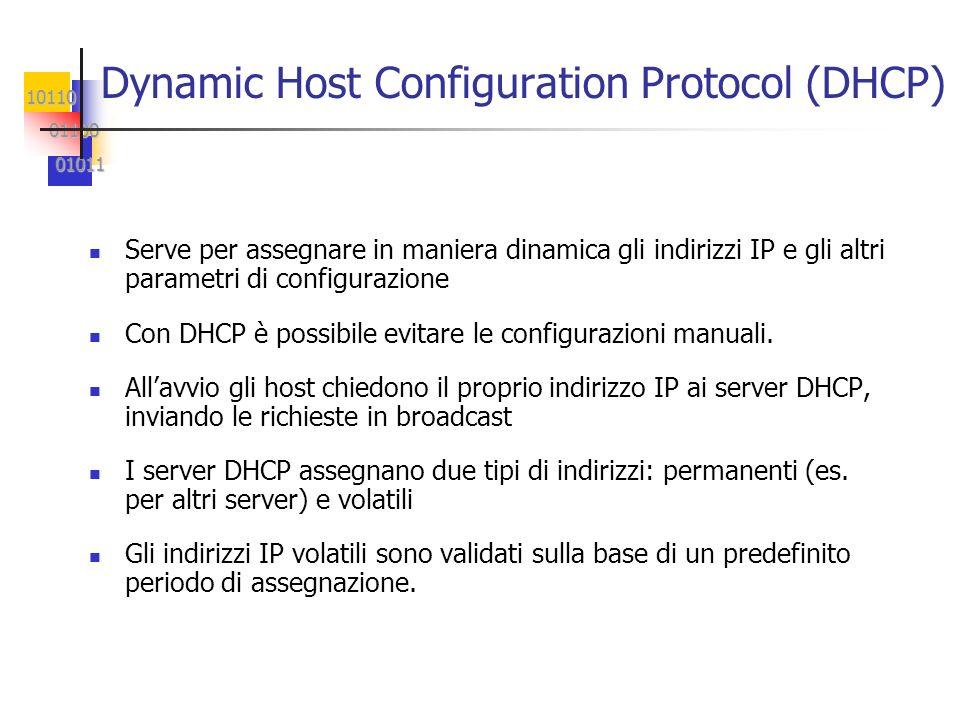 10110 01100 01100 01011 01011 Dynamic Host Configuration Protocol (DHCP) n Serve per assegnare in maniera dinamica gli indirizzi IP e gli altri parametri di configurazione n Con DHCP è possibile evitare le configurazioni manuali.