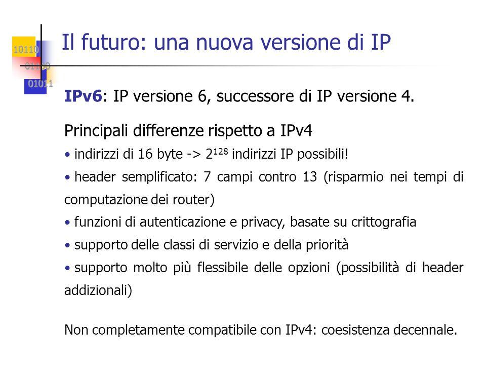 10110 01100 01100 01011 01011 Il futuro: una nuova versione di IP IPv6: IP versione 6, successore di IP versione 4.