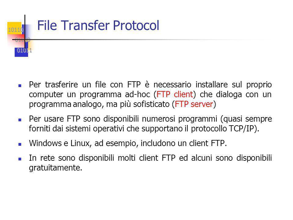 10110 01100 01100 01011 01011 File Transfer Protocol Per trasferire un file con FTP è necessario installare sul proprio computer un programma ad-hoc (FTP client) che dialoga con un programma analogo, ma più sofisticato (FTP server) Per usare FTP sono disponibili numerosi programmi (quasi sempre forniti dai sistemi operativi che supportano il protocollo TCP/IP).