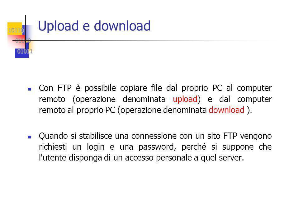 10110 01100 01100 01011 01011 Upload e download Con FTP è possibile copiare file dal proprio PC al computer remoto (operazione denominata upload) e dal computer remoto al proprio PC (operazione denominata download ).
