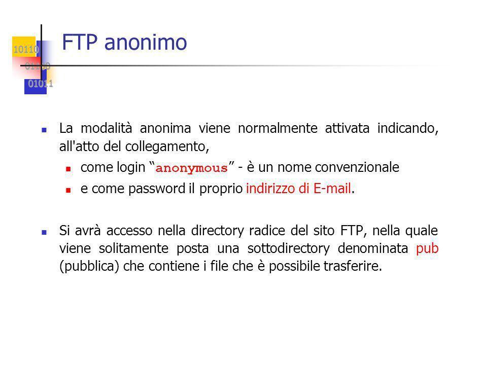 10110 01100 01100 01011 01011 FTP anonimo La modalità anonima viene normalmente attivata indicando, all atto del collegamento, come login anonymous - è un nome convenzionale e come password il proprio indirizzo di E-mail.