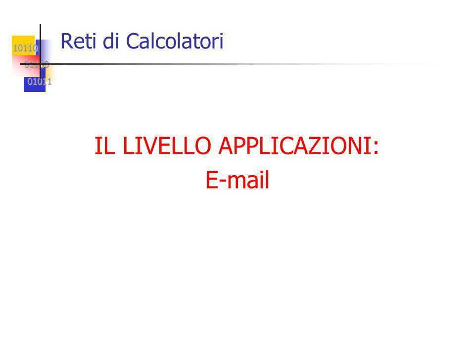 10110 01100 01100 01011 01011 Reti di Calcolatori IL LIVELLO APPLICAZIONI: E-mail