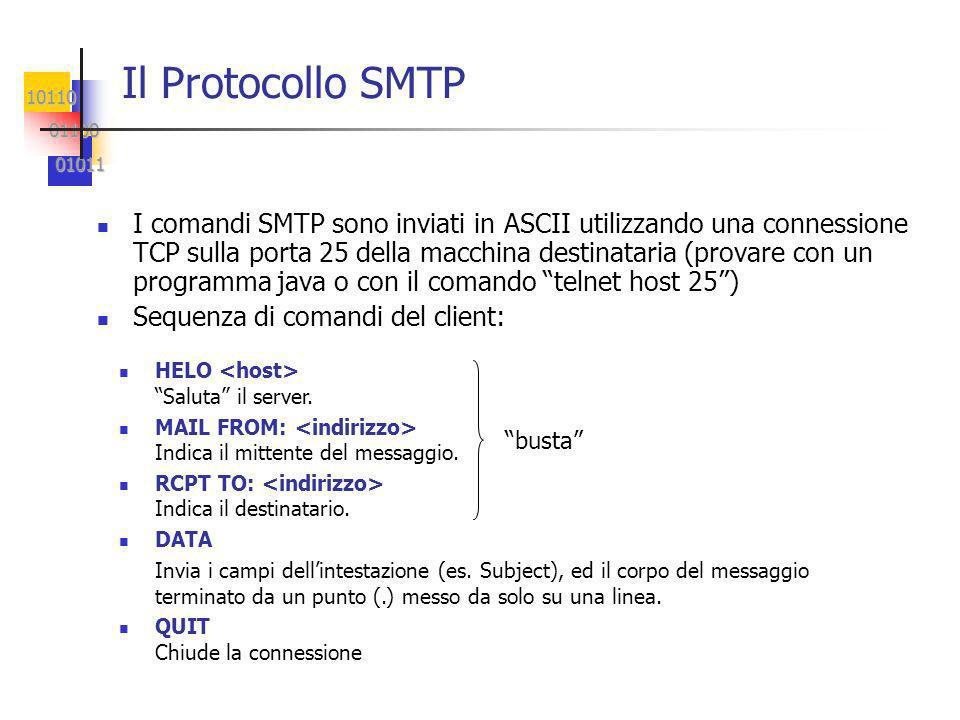 10110 01100 01100 01011 01011 I comandi SMTP sono inviati in ASCII utilizzando una connessione TCP sulla porta 25 della macchina destinataria (provare con un programma java o con il comando telnet host 25) Sequenza di comandi del client: Il Protocollo SMTP HELO Saluta il server.
