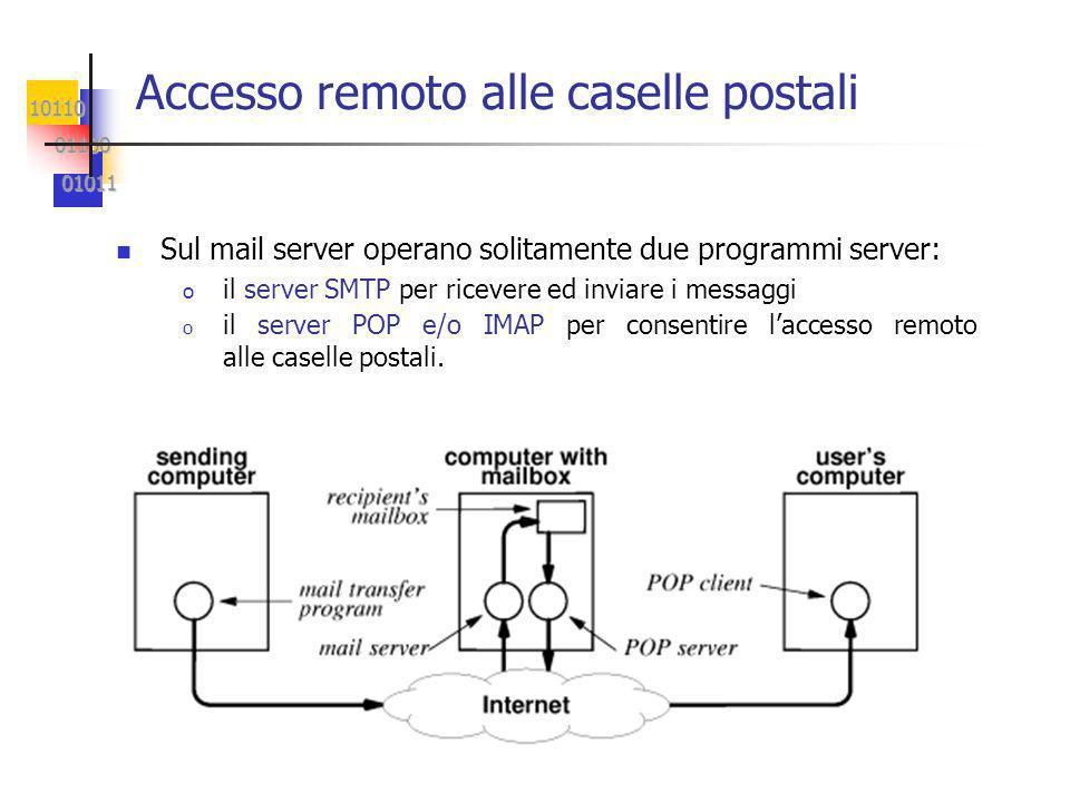 10110 01100 01100 01011 01011 Accesso remoto alle caselle postali Sul mail server operano solitamente due programmi server: o il server SMTP per ricevere ed inviare i messaggi o il server POP e/o IMAP per consentire laccesso remoto alle caselle postali.