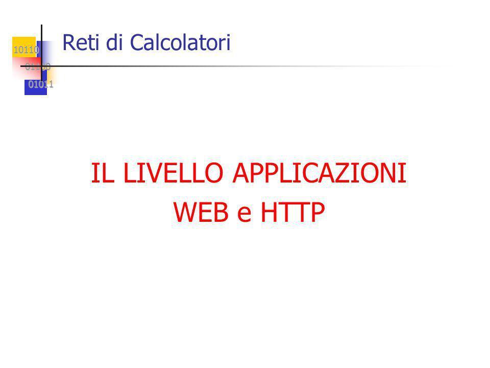 10110 01100 01100 01011 01011 Reti di Calcolatori IL LIVELLO APPLICAZIONI WEB e HTTP