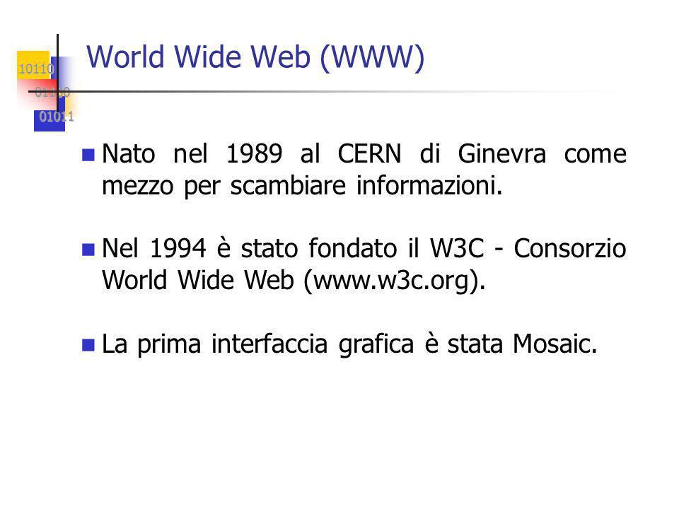 10110 01100 01100 01011 01011 World Wide Web (WWW) Nato nel 1989 al CERN di Ginevra come mezzo per scambiare informazioni.