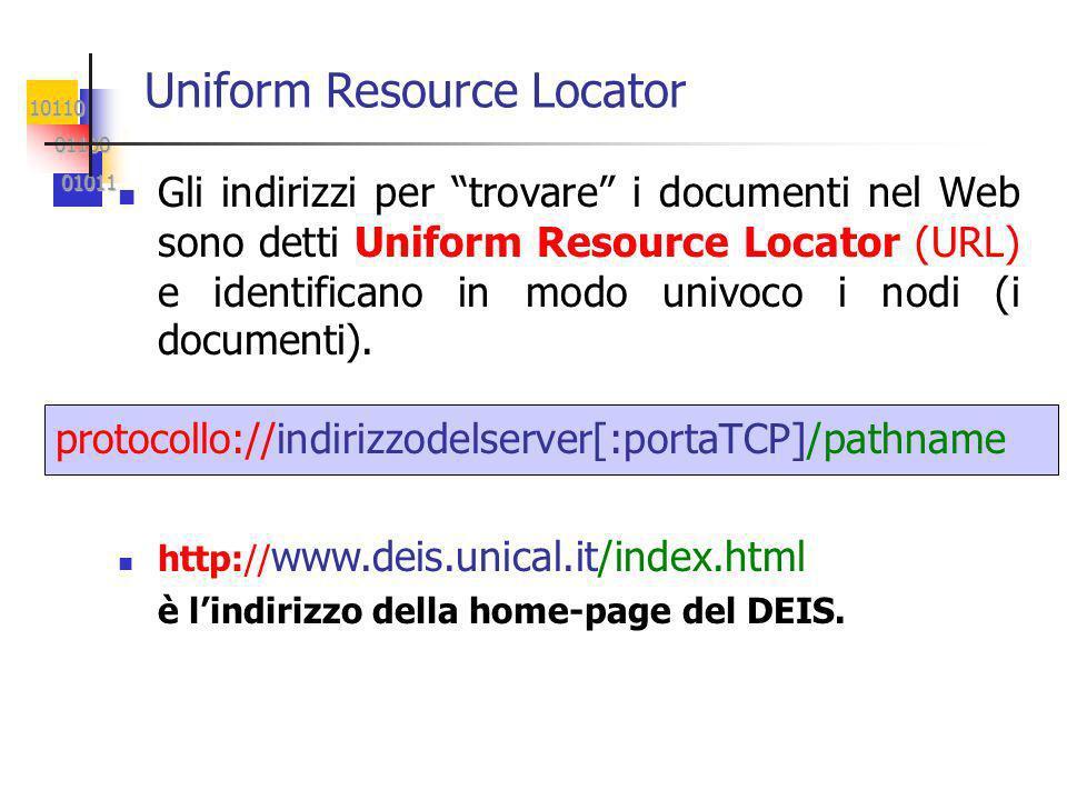 10110 01100 01100 01011 01011 Gli indirizzi per trovare i documenti nel Web sono detti Uniform Resource Locator (URL) e identificano in modo univoco i nodi (i documenti).