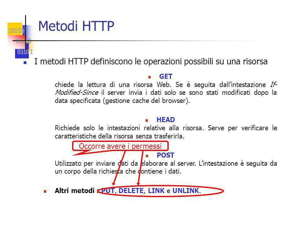 10110 01100 01100 01011 01011 Metodi HTTP I metodi HTTP definiscono le operazioni possibili su una risorsa n GET chiede la lettura di una risorsa Web.