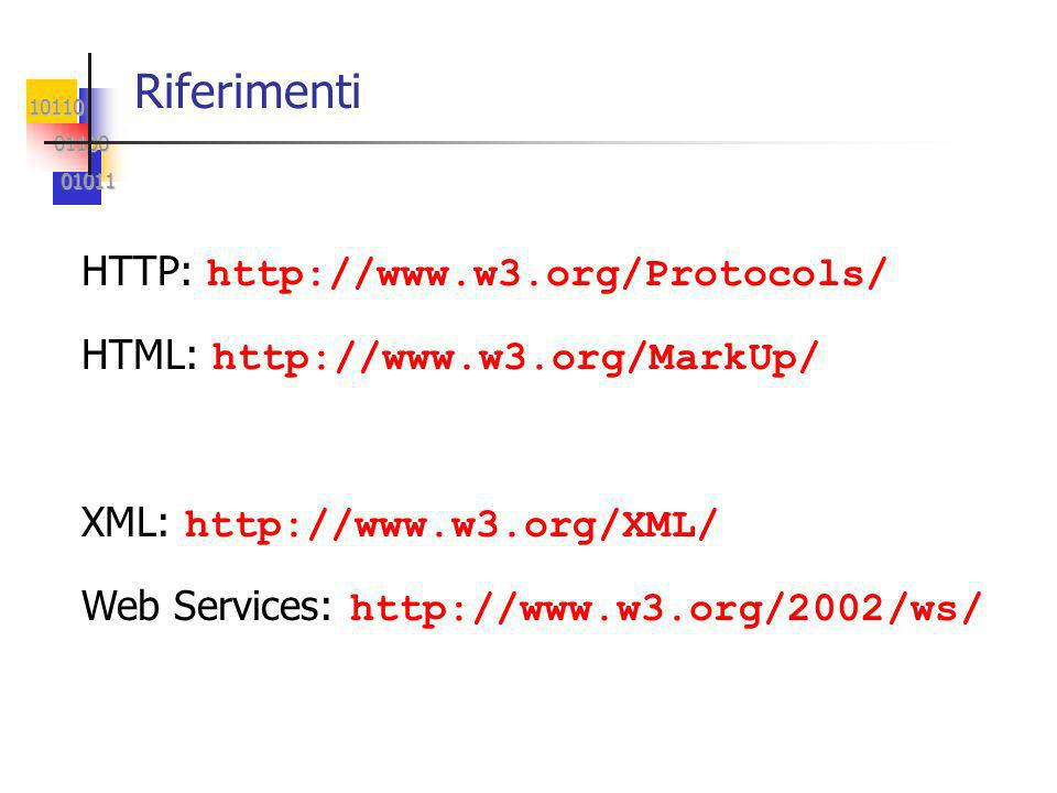 10110 01100 01100 01011 01011 Riferimenti HTTP: http://www.w3.org/Protocols/ HTML: http://www.w3.org/MarkUp/ XML: http://www.w3.org/XML/ Web Services: http://www.w3.org/2002/ws/