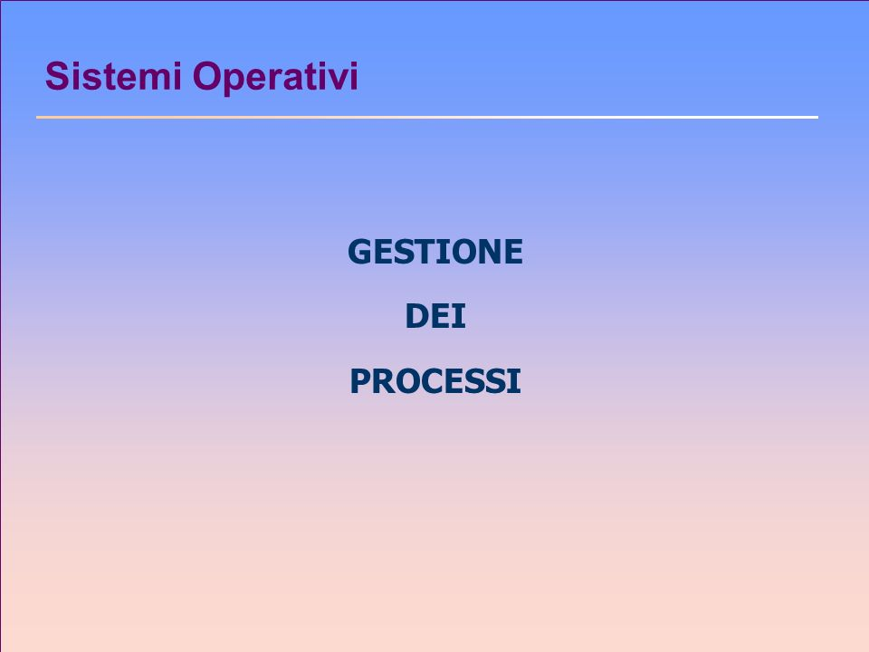Processi n Concetto di Processo n Scheduling di Processi n Operazioni su Processi n Processi Cooperanti n Concetto di Thread n Modelli Multithread n I thread in Java