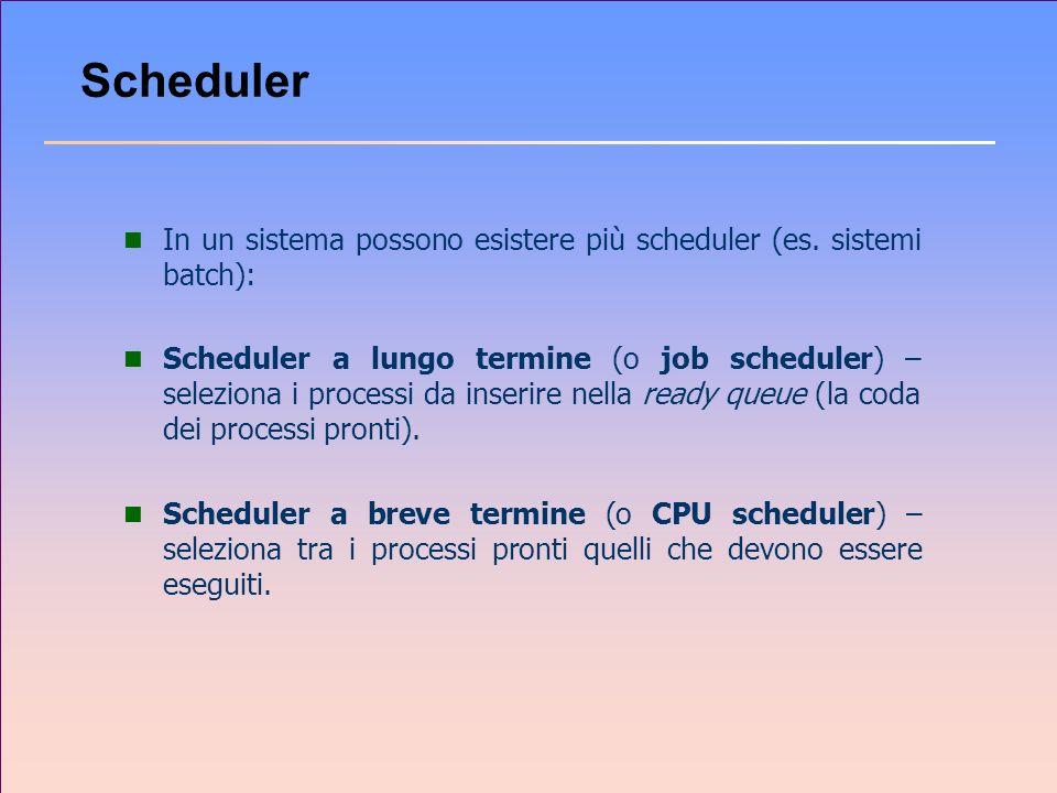 Scheduler n In un sistema possono esistere più scheduler (es. sistemi batch): n Scheduler a lungo termine (o job scheduler) – seleziona i processi da