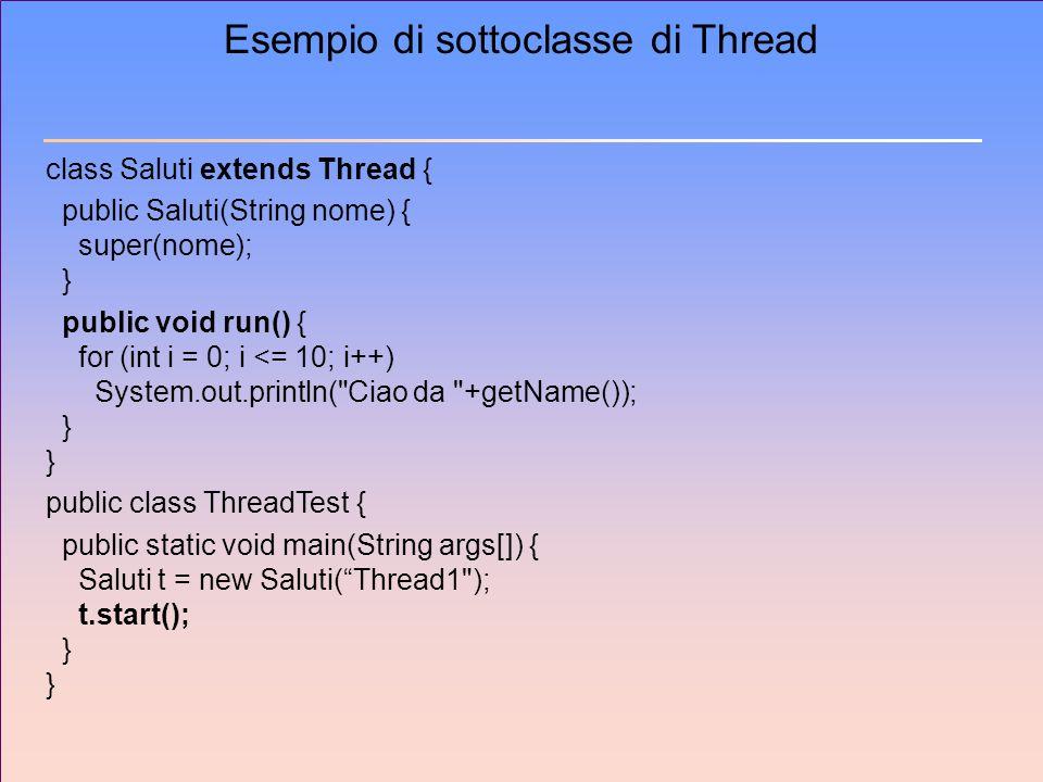 Esempio di sottoclasse di Thread class Saluti extends Thread { public Saluti(String nome) { super(nome); } public void run() { for (int i = 0; i <= 10