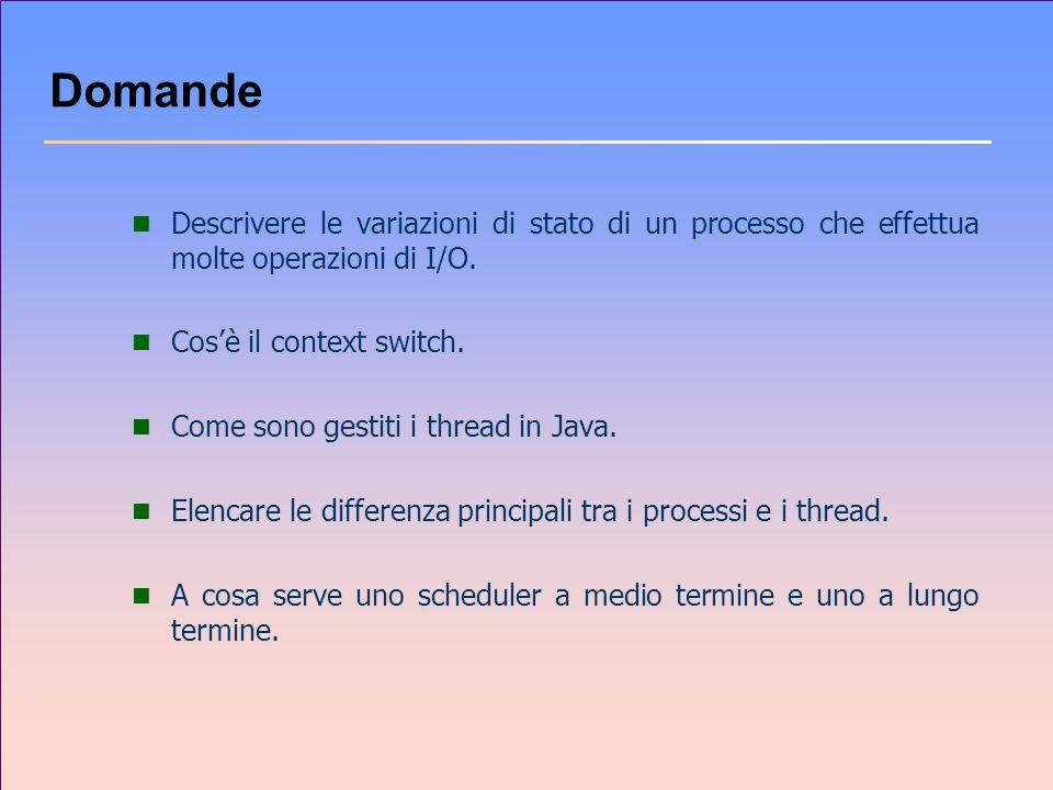 Domande n Descrivere le variazioni di stato di un processo che effettua molte operazioni di I/O. n Cosè il context switch. n Come sono gestiti i threa