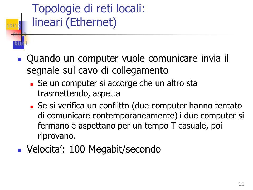 10110 01100 01100 01011 01011 21 PC1PC2 PC3PC4 Topologie di reti locali: punto a punto Ottima tolleranza ai guasti; ma altissimi costi per i collegamenti ( O(n 2 ) ) Utilizzabile solo per reti con pochissimi nodi.