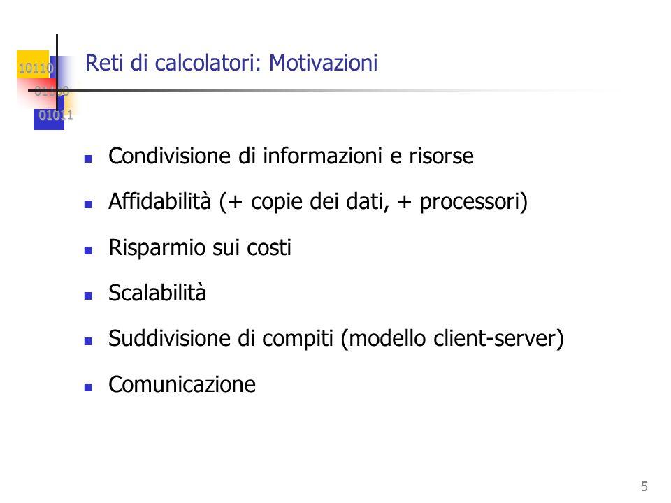 10110 01100 01100 01011 01011 5 Reti di calcolatori: Motivazioni Condivisione di informazioni e risorse Affidabilità (+ copie dei dati, + processori) Risparmio sui costi Scalabilità Suddivisione di compiti (modello client-server) Comunicazione